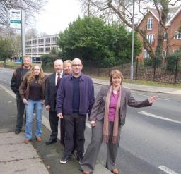 Cllr Peter Lambell with campaigners opposing Bus Cuts.