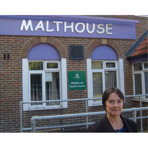 Cllr Hazel Watson outside The Malthouse youth centre in Dorking