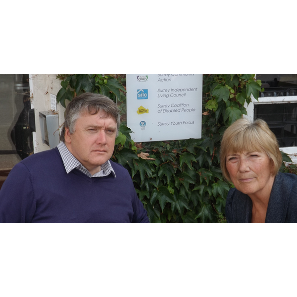 Cllr Fiona White & Nick Markwick of the Surrey Coalition of Disabled People